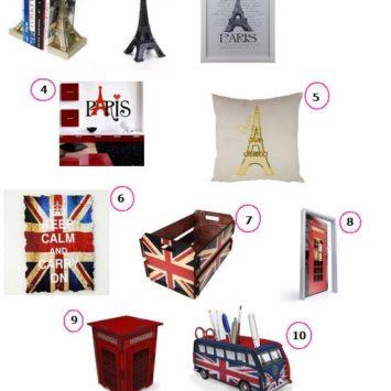 Decor: Itens decorativos Londres e Paris